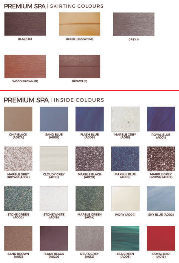 Premium Spa Skirt Colors